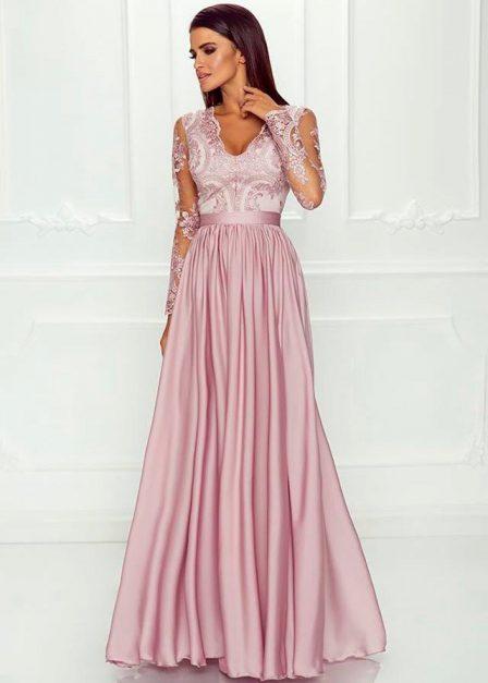Długa sukienka Luna koronkowa z rękawem maxi pudrowy róż