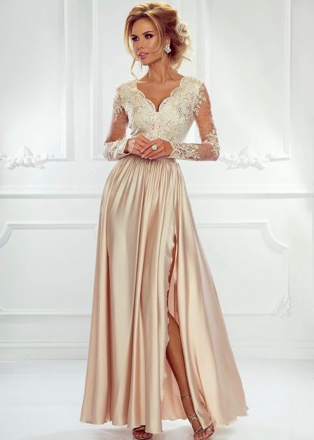 Długa sukienka Luna koronkowa z rękawem maxi beżowa