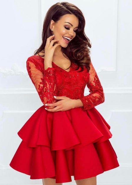 Koronkowa sukienka Emma z rękawem i falbanami krótka czerwona