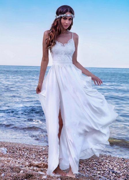 Długa biała sukienka Eliza na ramiączkach z koronkową górą