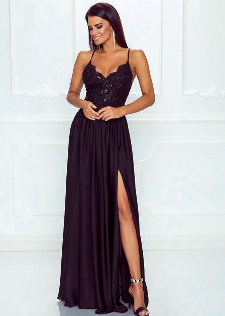 Długa czarna sukienka Eliza na ramiączkach z koronkową górą