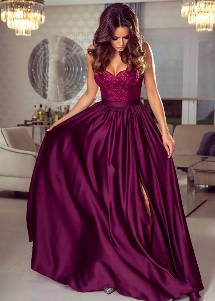 Długa bordowa sukienka Eliza na ramiączkach z koronkową górą