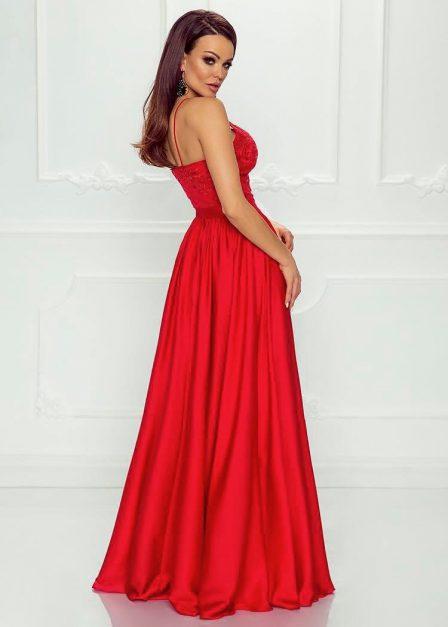 Długa czerwona sukienka Eliza na ramiączkach z koronkową górą