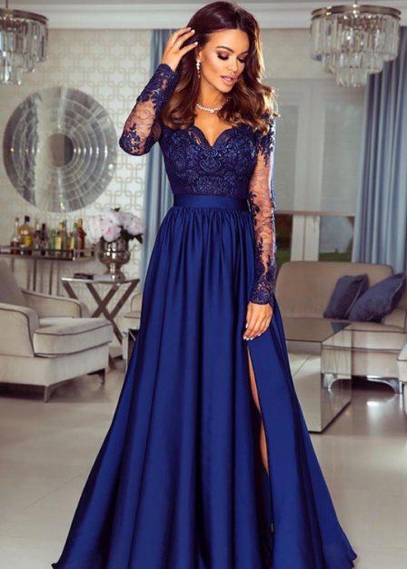 Długa sukienka Luna koronkowa z rękawem maxi czarna