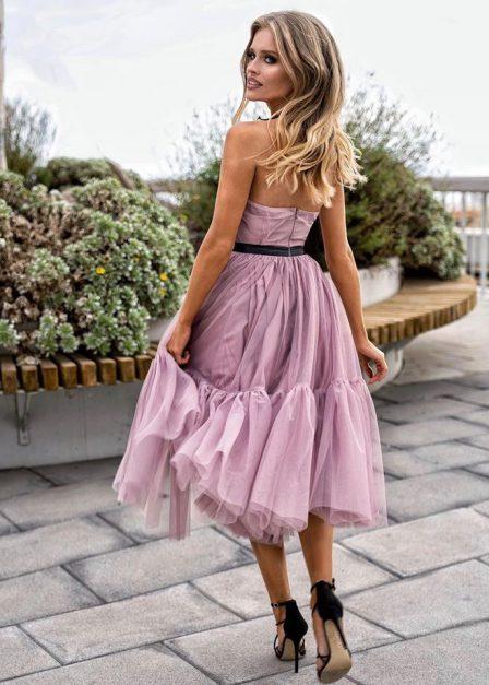 długa sukienka z odkrytymi plecami lara pudrowy róż tył