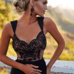 długa sukienka maxi z koronkową górą na ramiączkach z odkrytymi plecami Melani