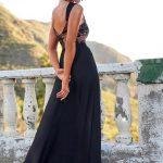 długa sukienka maxi z koronkową górą na ramiączkach z odkrytymi plecami Melani tył
