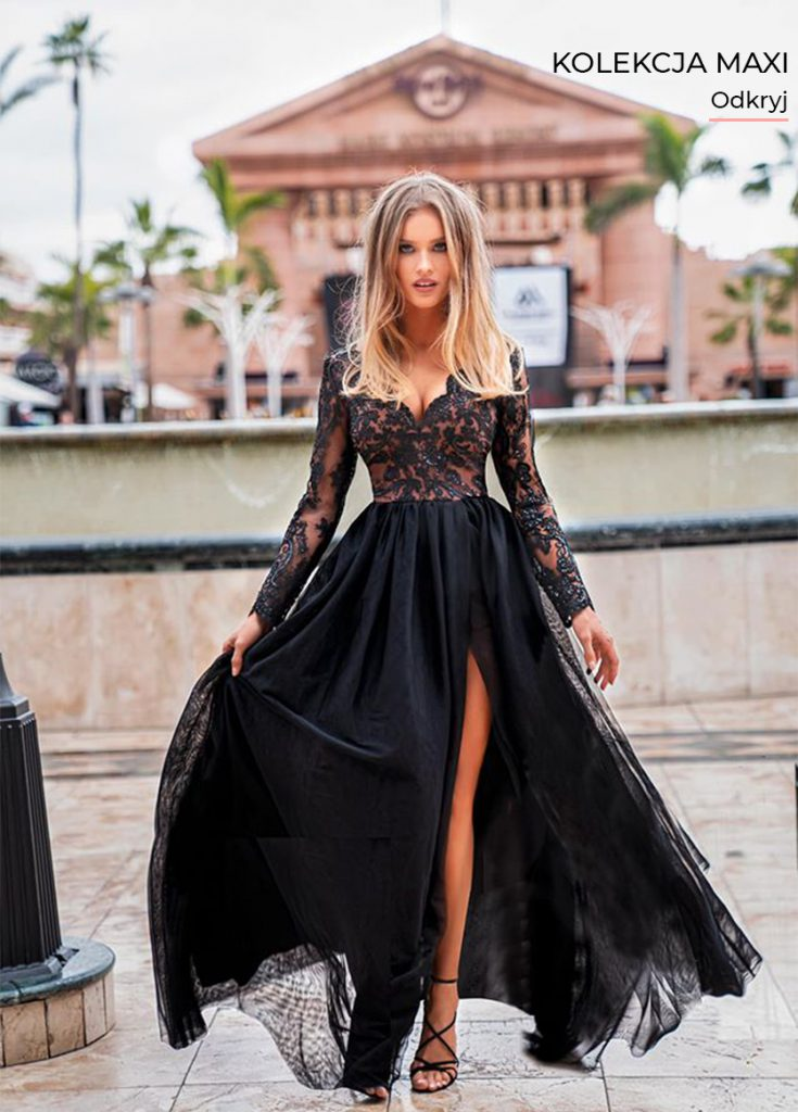Długa sukienka Adel z koronkową górą i rękawami z koronki czarna