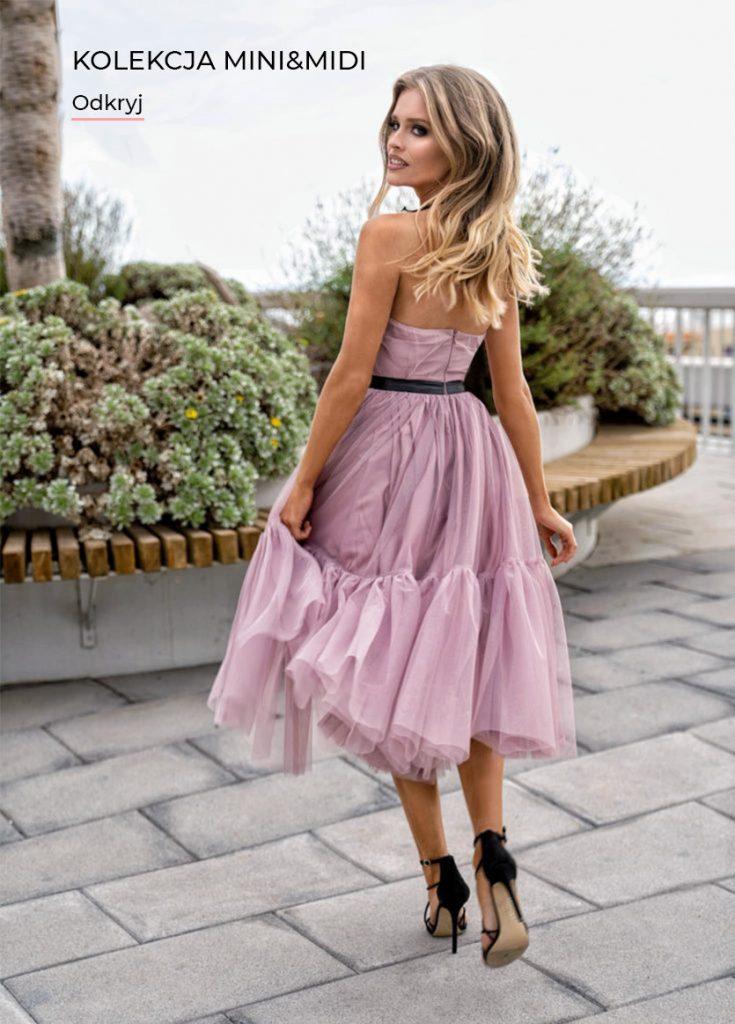 Sukienka Lara midi tiulowa z odkrytymi plecami różowa