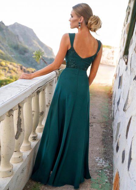 długa sukienka melanie z odkrytymi ramionami na ramiączkach zieleń tył