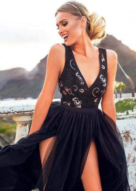 długa sukienka sukienka charlotte z dekoltem i rozporkami