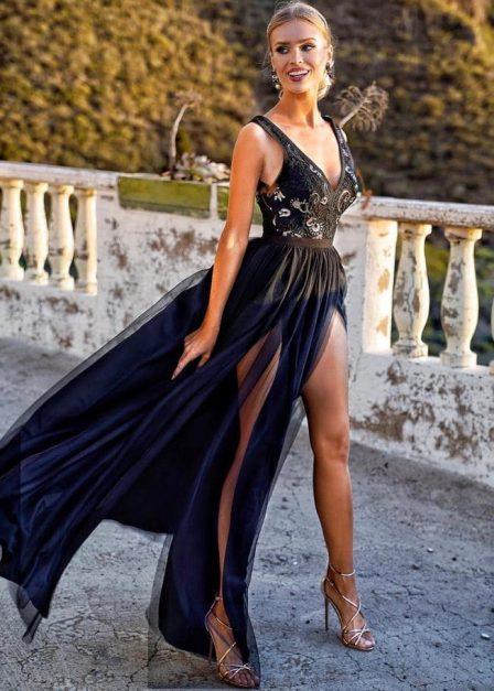 długa sukienka charlotte z koronkową górą czarna przód
