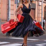 długa sukienka tiulowa czarna Paris przód