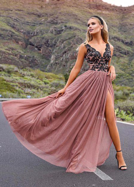 długa sukienka chiara z koronkową górą przód