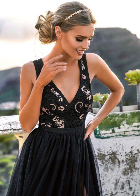 długa sukienka charlotte z koronkową górą przód