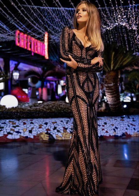 Długa sukienka cekinowa Elizabeth czarna złota